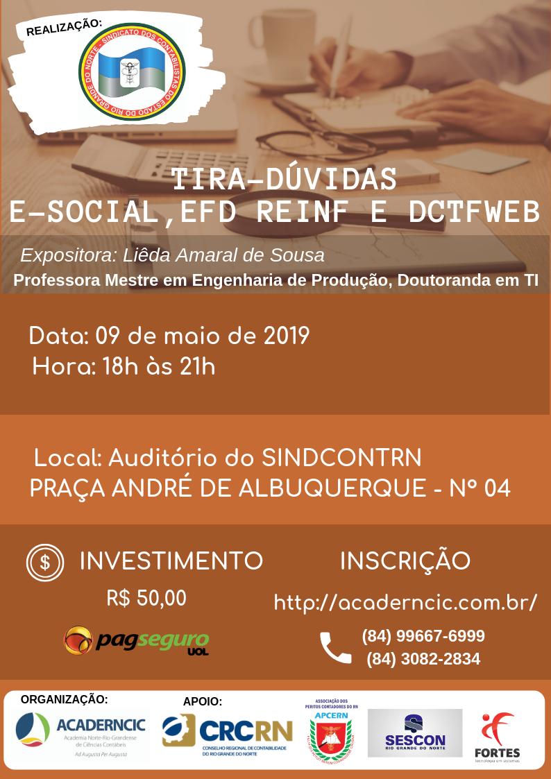 TIRA-DÚVIDAS, E-SOCIAL, EFD REINF E DCTFWEB com Liêda Amaral